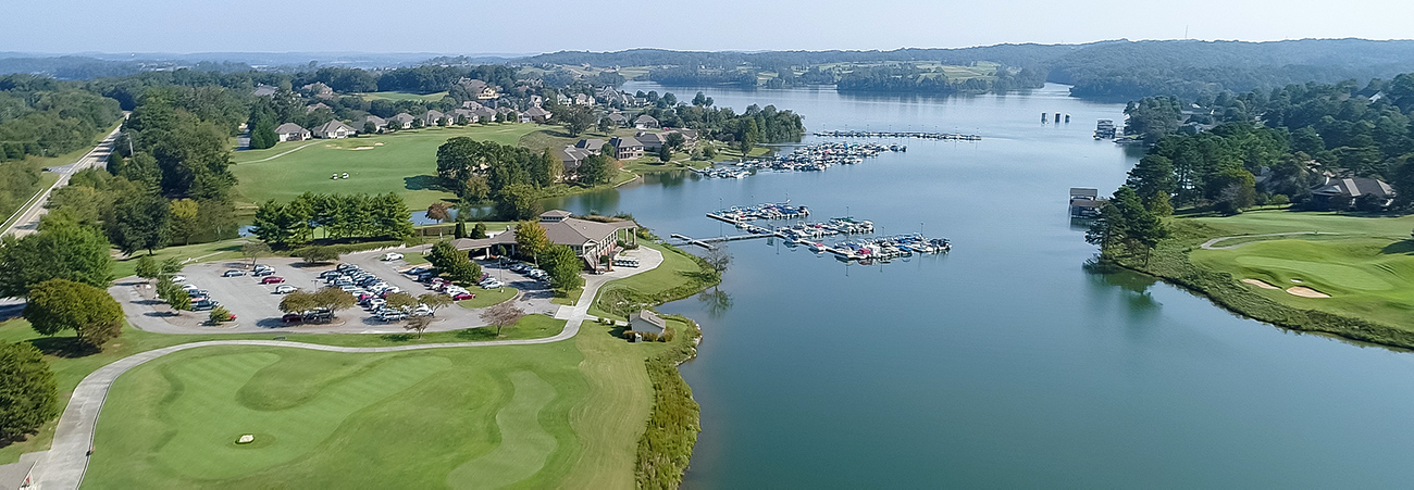 aerial tellico village golf course and lake