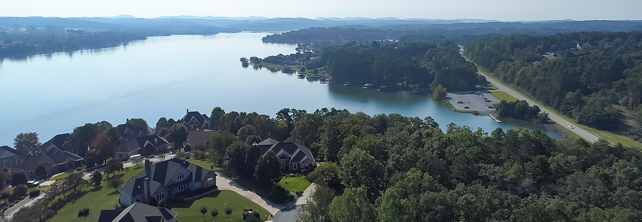 aerial tellico village lake homes
